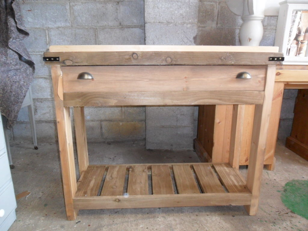 Solid Pine Rustic Butchers Block style Kitchen Island. Handmade